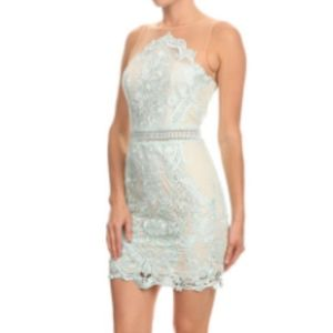 Light Blue Lace Bodycon Dress
